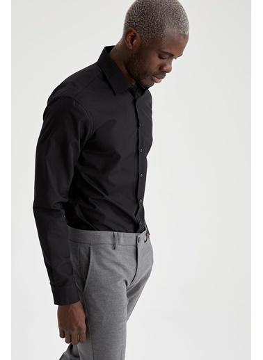 DeFacto Slim Fit Uzun Kollu Basic Gömlek Siyah